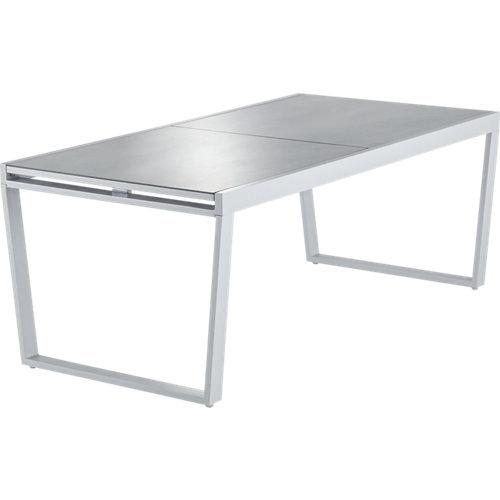 Mesa extensible de aluminio upsilon gris de 75x190/300 cm