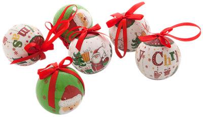 Set de 6 bolas de Navidad rojo Ø7,5 cm