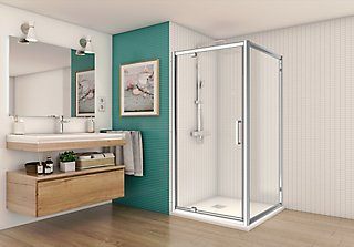 Mampara Abatible Quad Transparente 70x70 Cm Leroy Merlin