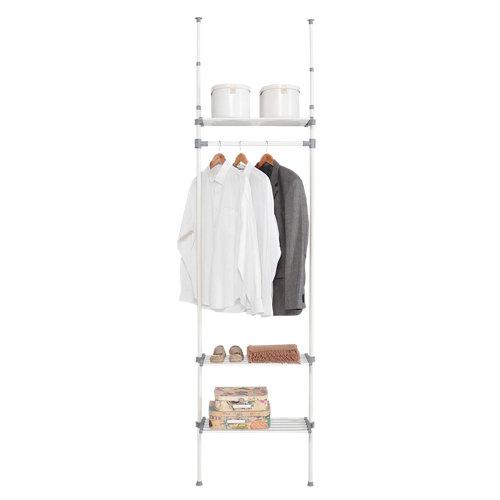 Kit vestidor blanco extensible dress 1 barra y 3 estantes 240x68x25 cm