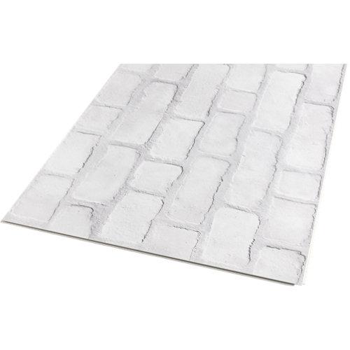 Revestimiento de pared de pvc artens renow piedra blanco de 70x0.6x40 cm