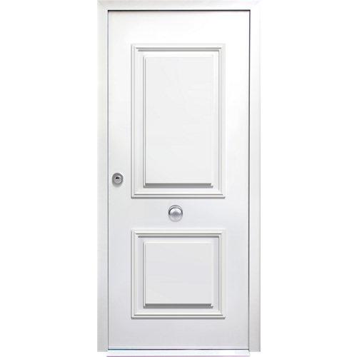 Puerta de entrada acorazada 3101 2 cuadros derecha blanco/blanco de 90x209 cm