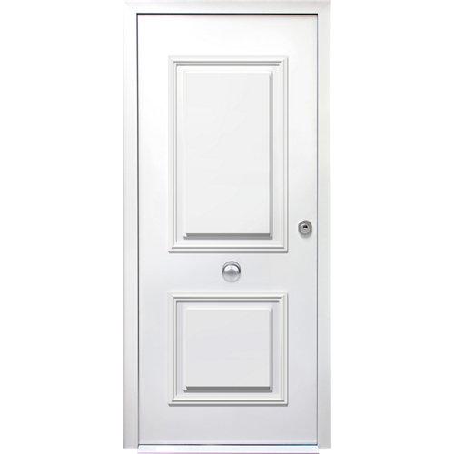 Puerta de entrada acorazada 3101 2 cuadros izquierda blanco/blanco de 90x209 cm