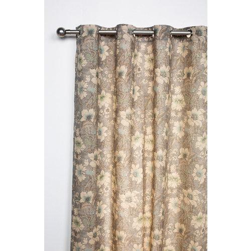 Cortina enfys con motivo floral gris de 270 x 140 cm