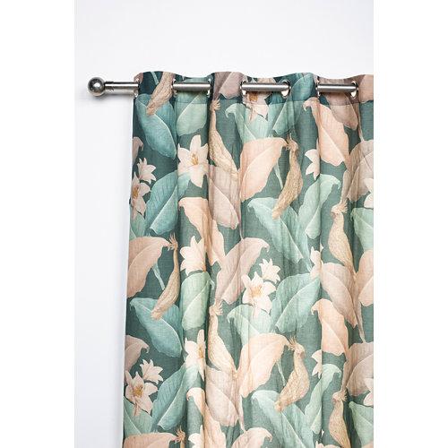 Cortina areca con motivo floral verde de 270 x 140 cm