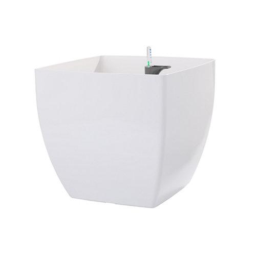 Maceta cuadrada auto-riego siena blanco 30x30x27cm