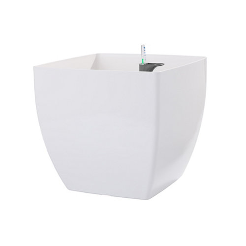 Maceta cuadrada auto-riego siena blanco 40x40x36cm