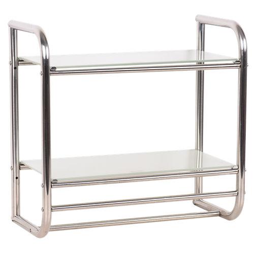 Toallero pared 2 baldas modern cristal/cromo 21x45 cm