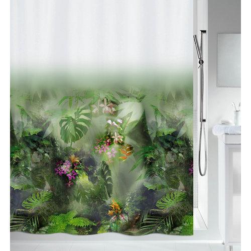 Cortina baño jungle verde poliéster 180x200 cm