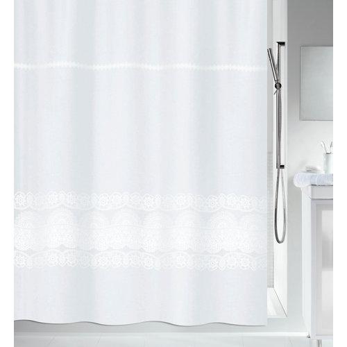 Cortina baño broderie blanco poliéster 180x200 cm