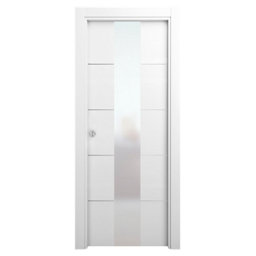Puerta de interior corredera paris blanco de 82.5 cm