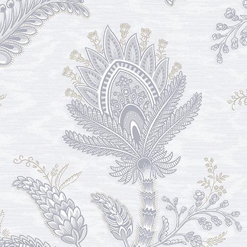 Papel pintado vinílico flores vegetal gris