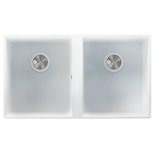 Fregadero 2 senos de cuarzo rectangular interbany oceano plus 74.5 x 74.5 cm
