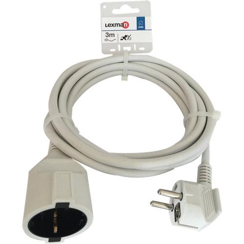 Prolongador de cable lexman blanco h05vv-f 3x1,5 mm² 3 m