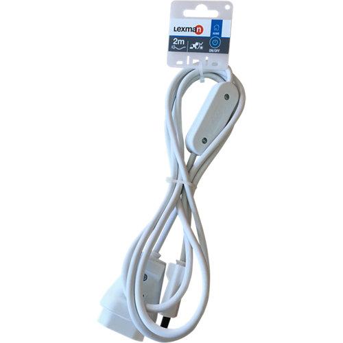 Cable alargador con interruptor lexman blanco 2 m