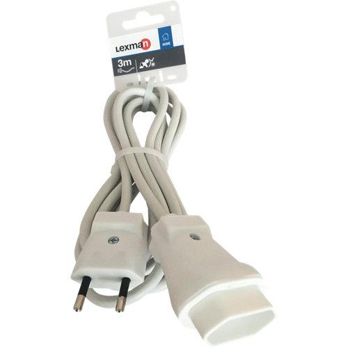 Prolongador de cable lexman blanco h05vv-f 2x1 mm² 3 m