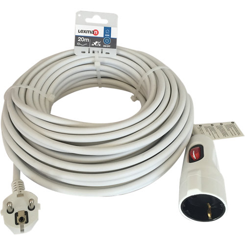 Prolongador de cable lexman blanco 3x1,5 mm² 20 m