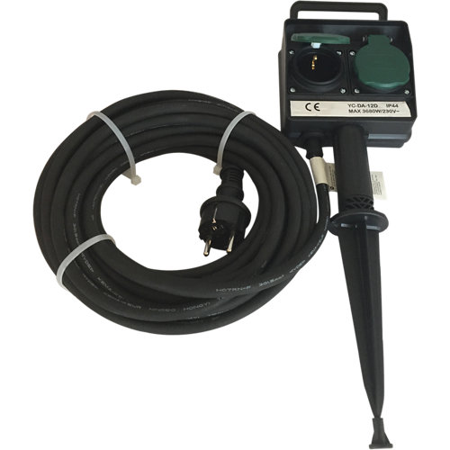 Prolongador de cable lexman negro 3x1,5 mm² 10 m