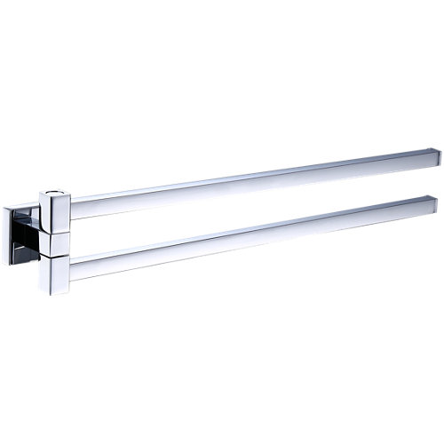 Toallero quaddro gris / plata cromado 38.6x6.8 cm