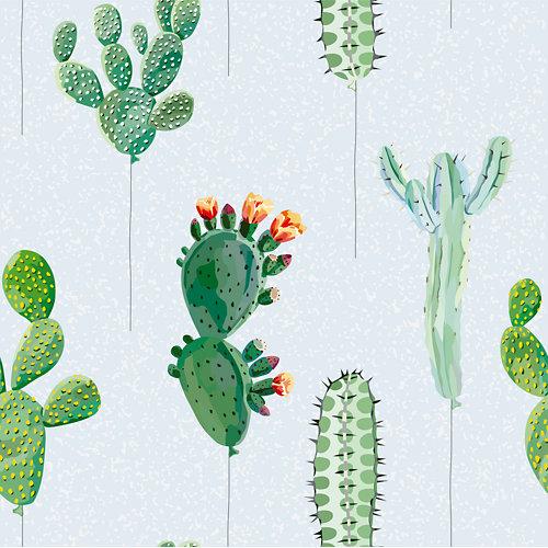 Papel pintado autoadhesivo cactus verde 3,31m²