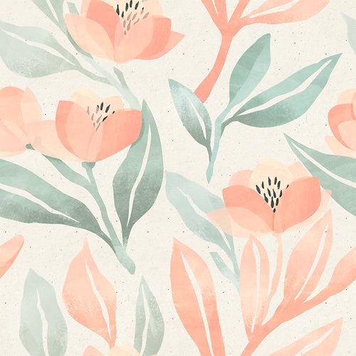 Papel pintado autoadhesivo flores verde y rosa 3,31m²