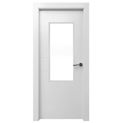 Puerta abatible vilna blanca con hueco para 1 vidrio apertura izq de 72,5 cm