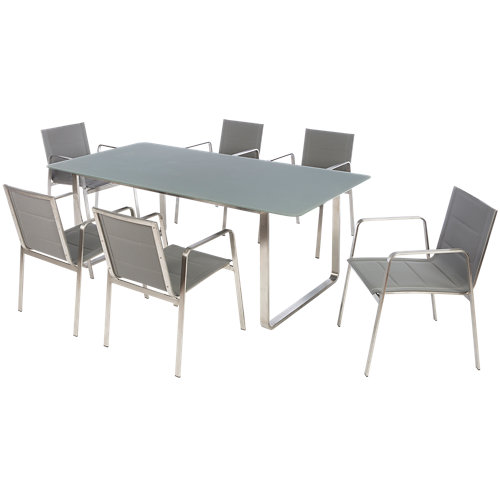 Conjunto de muebles de exterior london de acero para 6 comensales