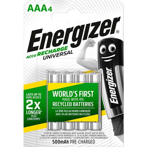 Pack 4 pilas recargable ni-mh aa hr3 500 mah energizer