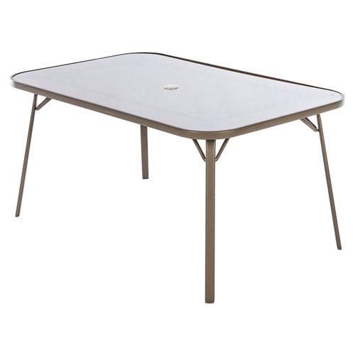 Mesa de jardín de comedor de acero pilar marrón de 95x71.5x150 cm