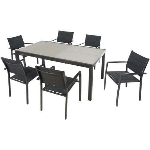 Conjunto de muebles de exterior lyra extensible de aluminio para 6 comensales