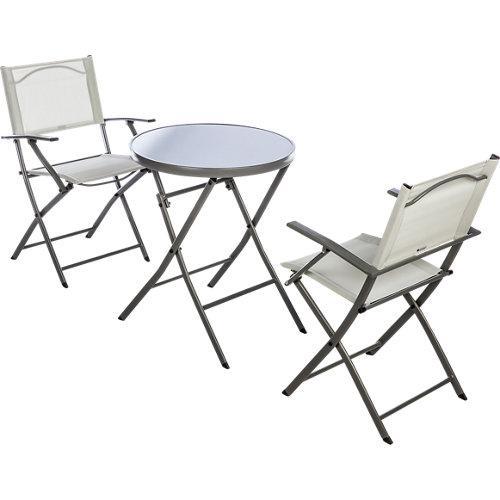 Conjunto de muebles de terraza emys de acero para 2 comensales
