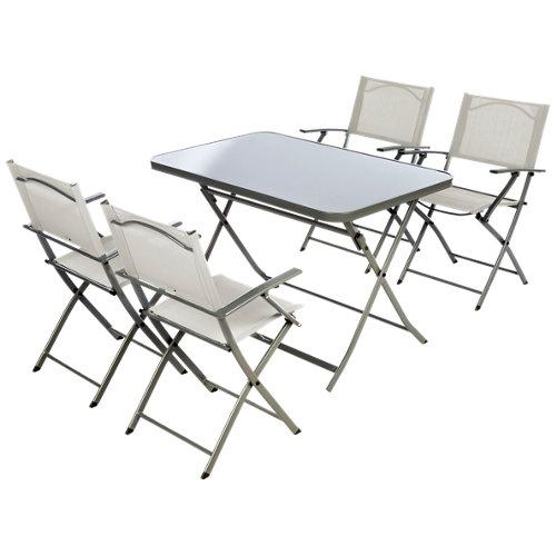 Conjunto de muebles de terraza emys de acero para 4 comensales