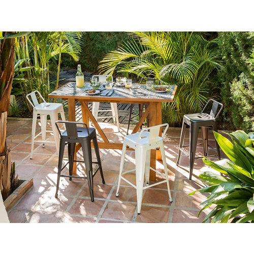 Conjunto de muebles de exterior soho de acacia para 6 comensales