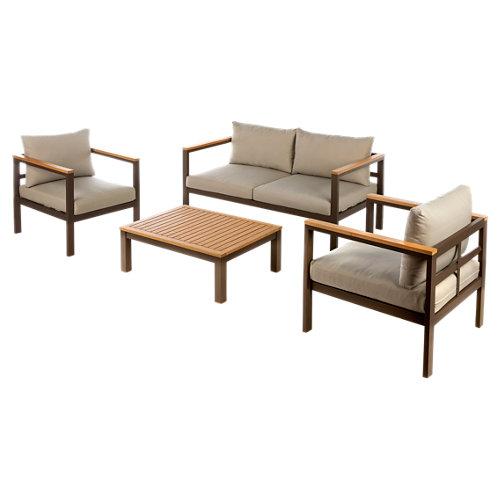 Set de sofás y mesa baja tampere de aluminio y madera para 4 personas