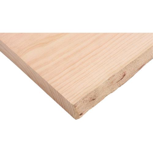Tablero macizo de pino 20/25x80x4 cm tarugo 1 lado bruto