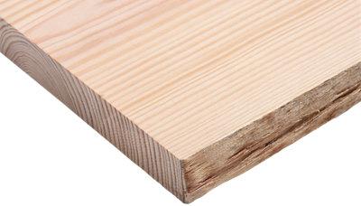 Tablero macizo de pino 20/25x60x4 cm tarugo 1 lado bruto