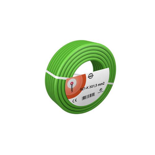 Cable eléctrico rz1-k 3 hilos de 1.5 mm2, 100 m, color verde