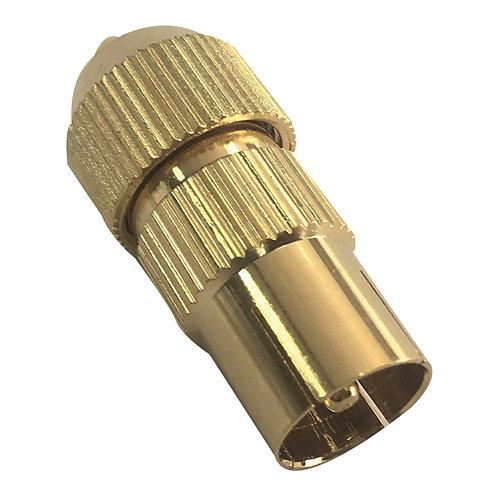 Conector coaxial 9.52 tv macho oro