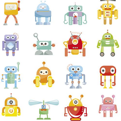 Papel pintado autoadhesivo robots multicolor 3,31 m²