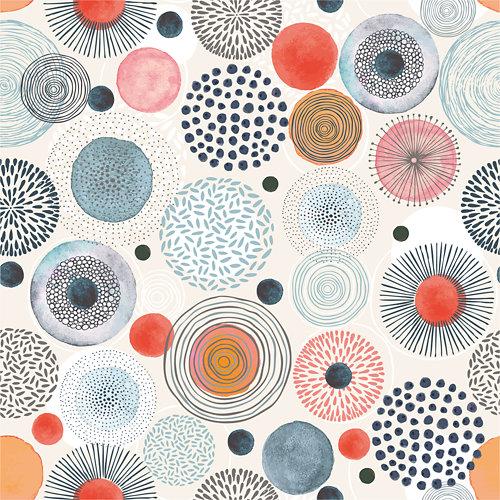 Papel pintado autoadhesivo círculos pop azul