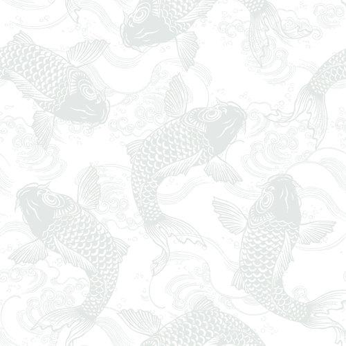 Papel pintado autoadhesivo koi peces verde 3,31 m²