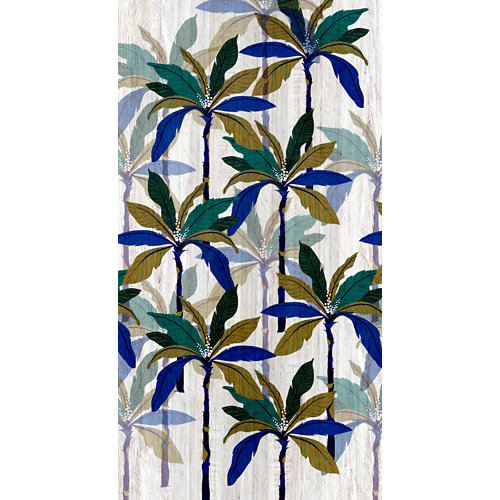 Mural decorativo autoadhesivo blue palm azul 132x250 cm