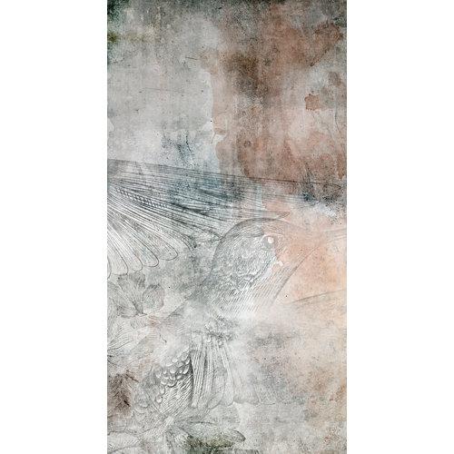 Mural decorativo autoadhesivo colibrí beige 132x250 cm