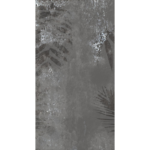 Mural decorativo autoadhesivo metal leaves gris 132x250 cm
