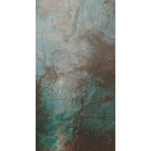 Mural autoadhesivo madera y óxido turquesa 132x250 cm