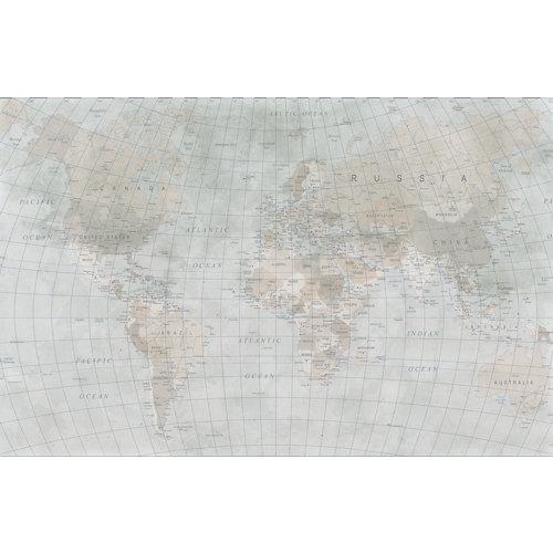 Mural autoadhesivo mapamundi beige 65x250 cm