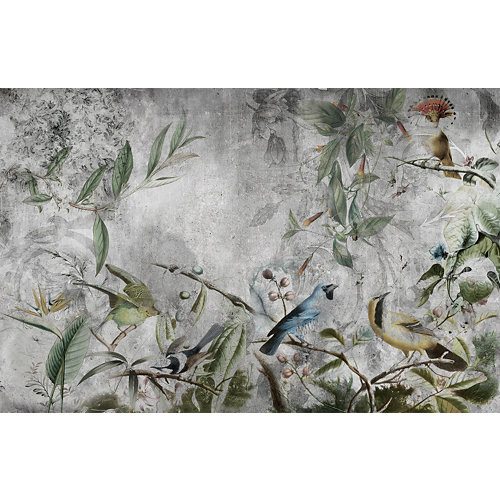 Mural autoadhesivo pájaros tropicales verde 65x250 cm