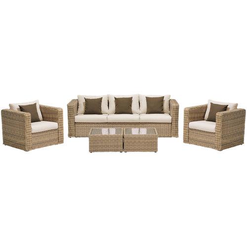 Conjunto de sofás y mesas bajas santorini de ratán sintético para 5 personas