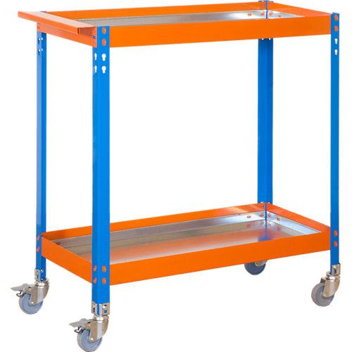 Carro metalico azul naranja con ruedas y estantes de metal