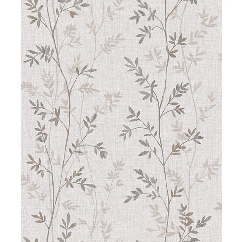 Papel pintado tnt floral ramas gris beige